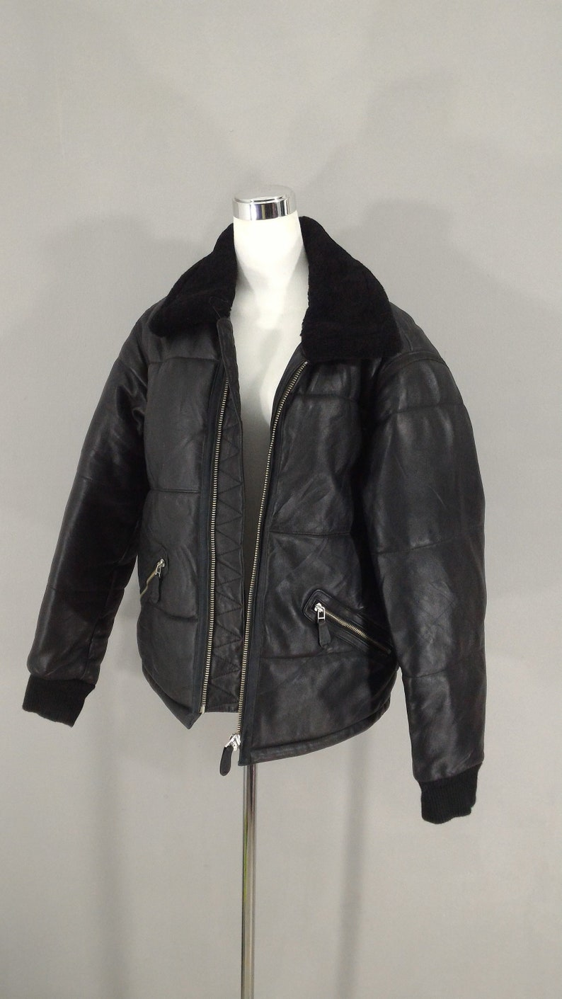 788e502b4 SALE! Genuine Leather Jacket Real Fur Collar Men Black Sheepskin Winter  Leather Coat Men Classic Flight Jacket Men's Casual Bomber Jacket