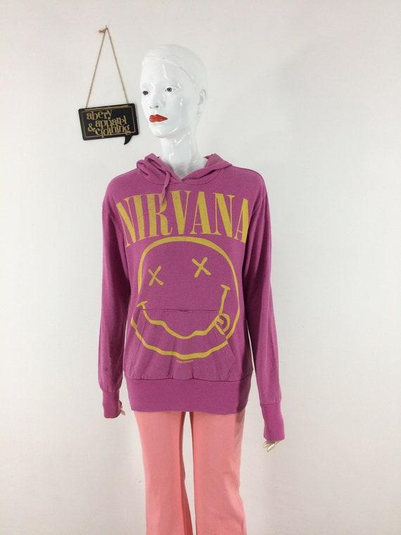 Vintage Rare 90s Nirvana Smiley Hoodie Sweatshirt