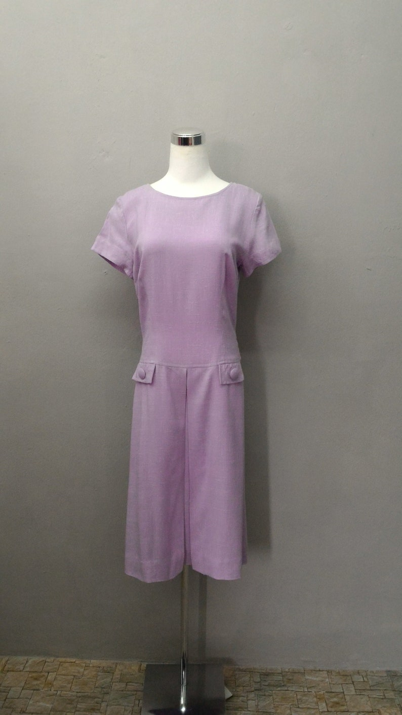 Vintage Irish Maid Dress Short Sleeve Super Crease Resistant Yarn Dress Coat Made In Ireland Vintage 1970 Midi Coat Dress For Women.