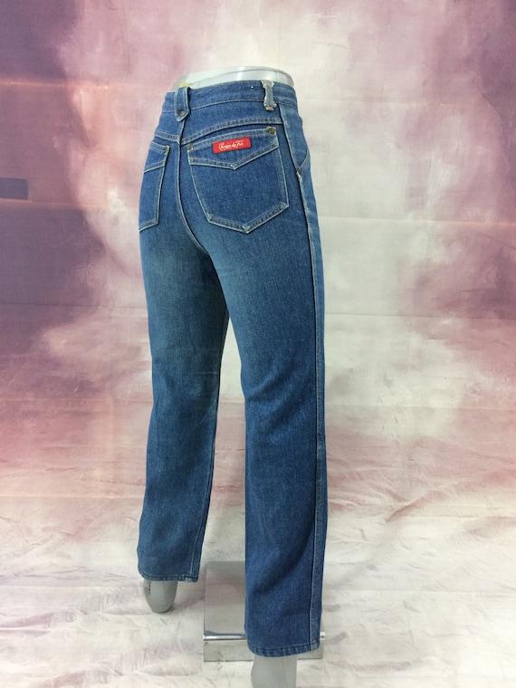 1970s vintage Chemin De Fer high waist disco jeans 70s 80s boho straight leg medium wash denim XS 23 W 35 L extra long inseam