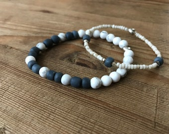 2 Bracelet Set - Howlite and Recycled Indonesian Glass Bead - Custom Made