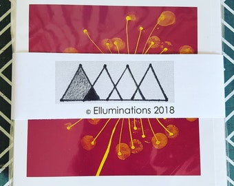 6 Card Multi Pack Set - Original Art Cards - Square Cards - Blank Cards - Bright - Dandelion - Stationery Gift - Saver Deal