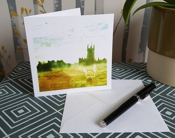 Gloucester Cathedral - Elluminations - Art Card - Square Card - Greetings Card - Blank Card - Watercolour - Silhouette
