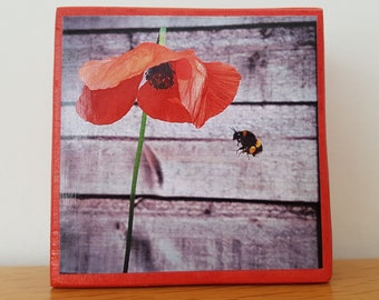 Red Poppy - Bee - Wooden Art Block - Valentine's Day Gift - Rustic Wood Art -  Home Decor Gift - Floral Nature Photography