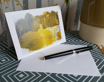 Gloucester Cathedral - Baptism - Christening - Art Card - 6x4 inches - Greetings Card - Blank Card - Painting - Yellow - Gold - Art Print