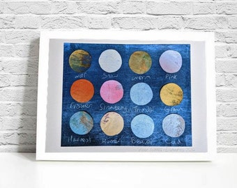 Moon Names Original A4 Size Art Print (frame not included)
