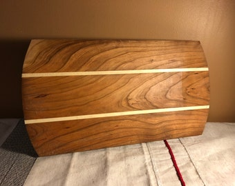 3e40a127a5db Cherry and Aspen Wood Cutting Board Display Tray, Striped Long Grain Platter