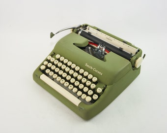 Smith Corona Sterling - Green & Cream Vintage Portable Typewriter And in the U.S.A. in 1959