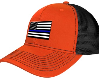 Safety Orange Thin Blue Line American Flag Trucker Hat 80833c8cbaea