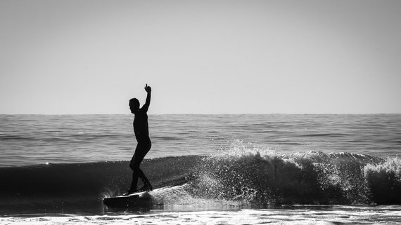 Longboard Surfer in silhouette Ocean City Maryland Black and white  photography surf art home decor