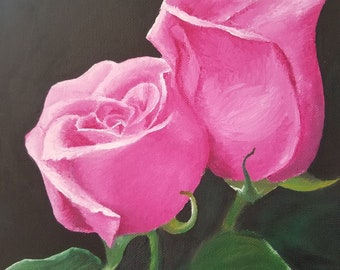 Roses - Original oil painting on stretched canvas