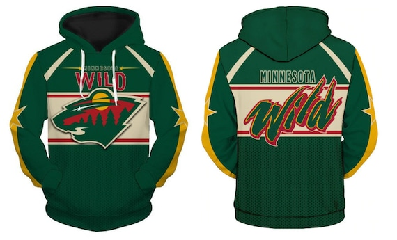 cheaper 83c3c 283ff Minnesota Wild Hoodie Team Logo Ice Hockey Sweater Pullover Fan's Edition