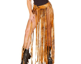 Rave Booty Shorts - Tie-dye faux suede fringe gypsy skirt