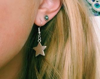 Dangle Silver Star Earrings