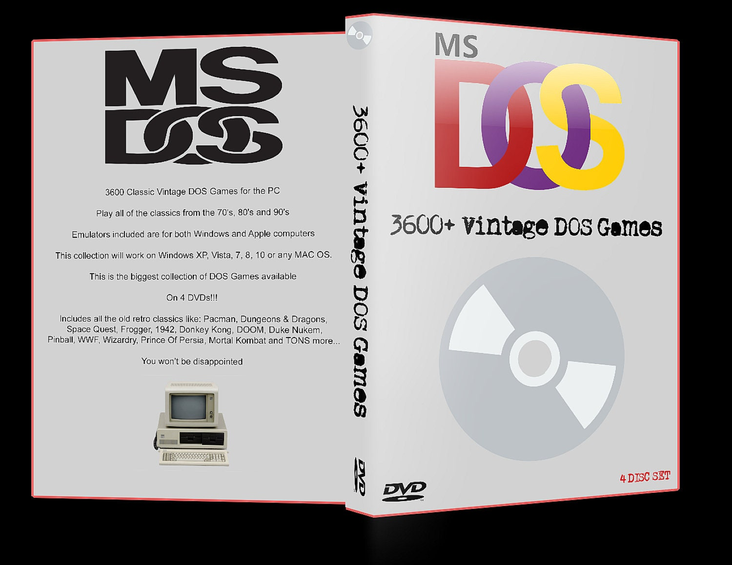 3600+ Vintage DOS Games For Windows XP/7/8/10 & MAC - 4 Discs - Free  Shipping
