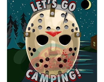 Let's Go Camping! vector print