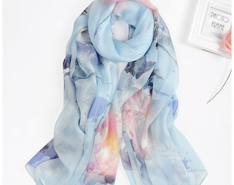 Floral Silk Beach Wrap   Baby Blue Silk Scarf   Beachwear Sarongs   Large Beach Cover up   Romantic Floral Scarf    Cute Gifts For Her