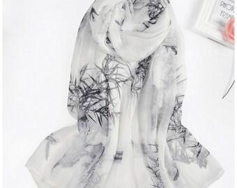Black And White Silk Scarf | Ladies White Silk Scarf | Black Silk Scarf Long | Large Black Silk Scarves | Silk White Floral Scarf