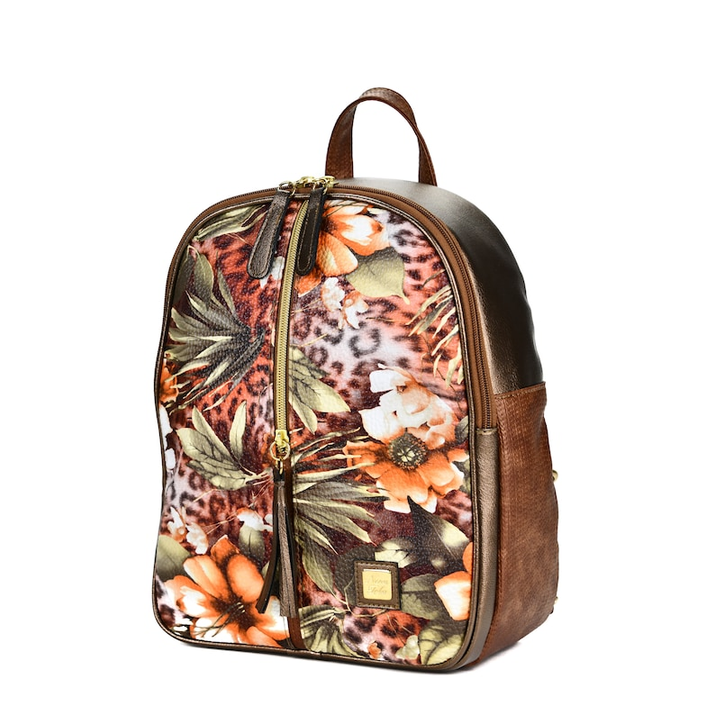 Floral Women Backpack Faux Leather Bag Handmade Women Backpack Vegan Backpack Multicolour Backpack