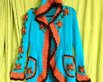 Beautiful Knitted Cardigan, Warm Flower Patterned