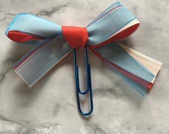 America Bow Clip - 4th of July- Independence Day - Red White Blue - Planner Clip - Great for Erin Condren, Happy Planner, Travelers Notebook