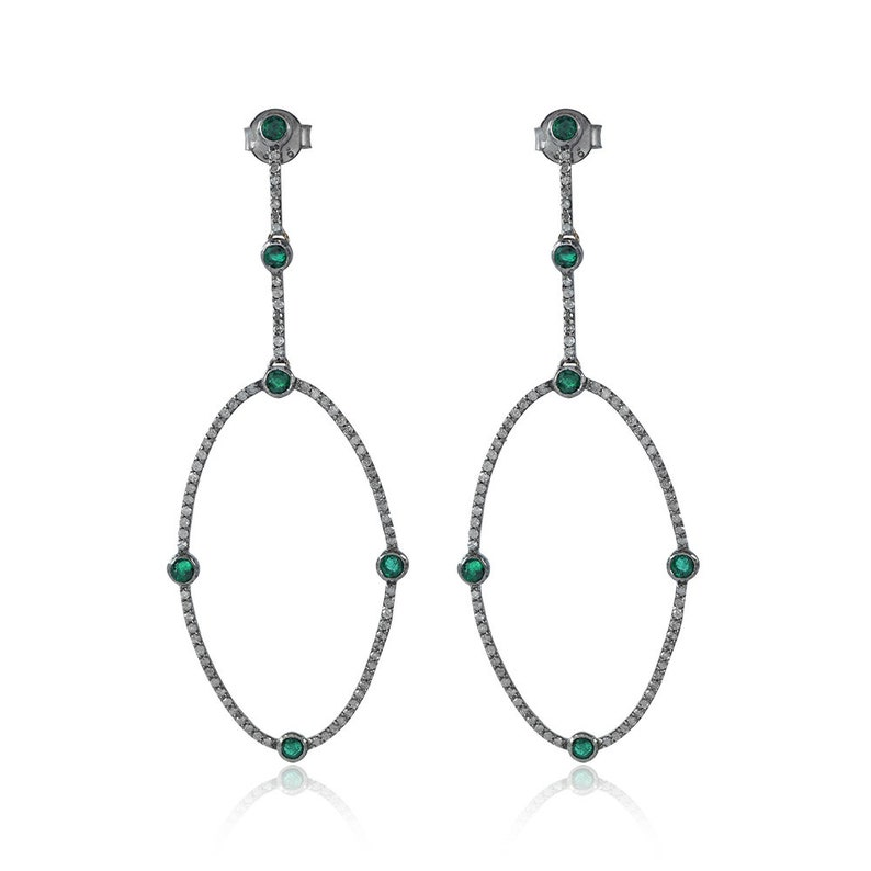925 Sterling Silver Diamond Earring Pave Diamond Silver /& 14K Gold Emerald Gemstone Earrings White Diamond Earring Diamond Earrings