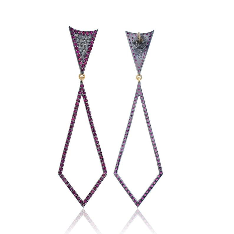 New Designer Earrings Silver New Style Earring Pave diamond 14K /& Silver Ruby Earrings Diamond and Ruby Dangle Earrings Silver Jewelry
