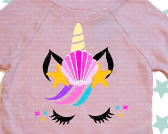 Unicorn svg, Mermaid svg, Birthday girl, Svg files for cricut, Iron on transfer, Shirt for girls kids, Digital sublimation, Unicorn head dxf