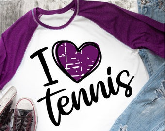 I Love Heart Tennis Pink Kids T-Shirt