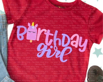Birthday girl Unicorn svg, Baby first birthday, Pink and purple unicorn, Summer fun svg, Iron on transfer, Digital sublimation, Unicorn dxf