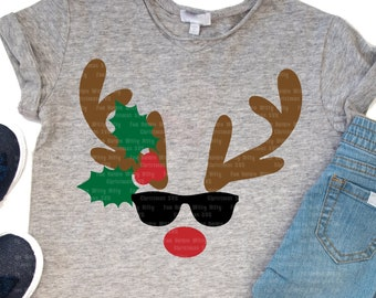 Reindeer svg, Vacation beach sunglasses, Funny svg files,  Iron on transfer, Kids baby shirts, Digital sublimation, Christmas shirts decal