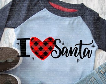 I love Santa svg, Christmas svg, Winter holidays, Heart buffalo plaid svg, Winter decal, Iron on transfer, Woman kids shirt design, Sayings