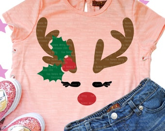 Reindeer svg, Reindeer face svg, Funny svg files for cricut, Iron on transfer, Kids baby shirts, Digital sublimation, Christmas shirts decal