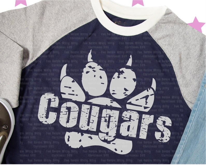 Sports Baseball Football Softball basketball svg files for cricut Paws Distressed Grunge svg Iron on transfer Cougars svg Dxf cutfiles