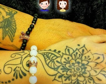 His and hers king and queen beaded bracelet