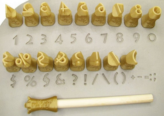Rélyéf set of Lithos numerals 10 mm Pottery texturing ceramic clay tools