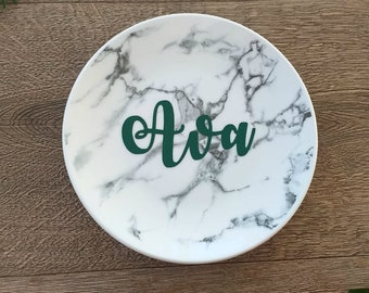 Forest Green, Marble Jewellery Dish with Personalised Name, Greenery, Natural, Gift for her, Bridesmaids, Mom
