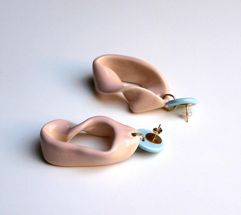 Modern ceramic earrings large earrings summer earrings. rosewood earrings ceramic jewellery