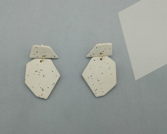Mottled Ceramic Speckle Earrings Triangle Earrings Handmade Ceramic Earrings Ceramic Gold Minimalist Jewelry