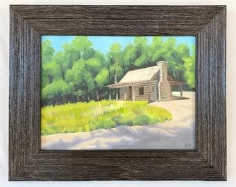 Wood Family Cabin, Atlanta History Center, Georgia, Log Cabin, landscape, framed art