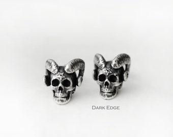 04f4cdda6 Sterling silver evil demon horns skull earrings stud pierced earrings mens  womens Gothic punk jewelry gift by Dark Edge Jewellery