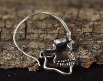 Sterling silver skull earrings punk earrings skull hoop earrings drop  earrings 3D detailed double sided mens womens gift by Dark Edge Jewell 8cb39e8b0d99