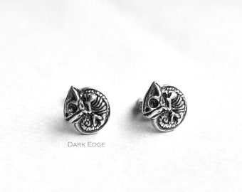 925 sterling silver Yin Yang earrings stud circle earrings tribal symbol earrings mens womens Gothic jewellery gift by Dark Edge Jewellery