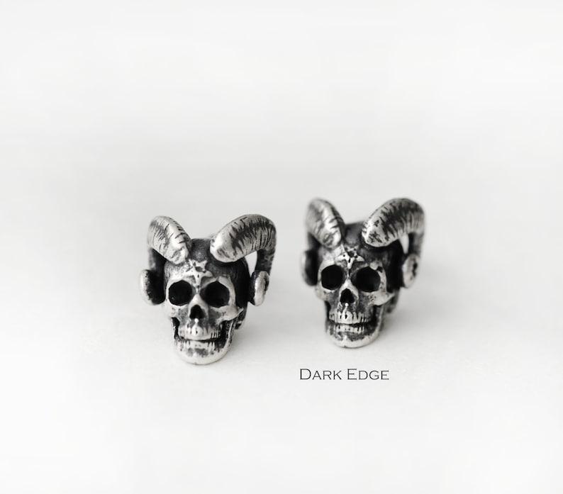 Sterling silver evil demon horns skull earrings stud pierced image 0