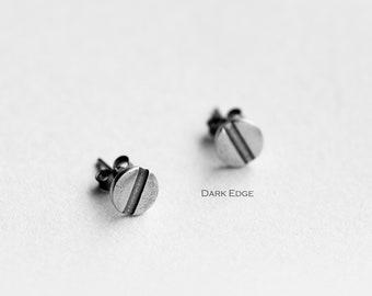 925 sterling silver slotted screw earrings  stud circle earrings mens womens Gothic punk jewellery gift by Dark Edge Jewellery