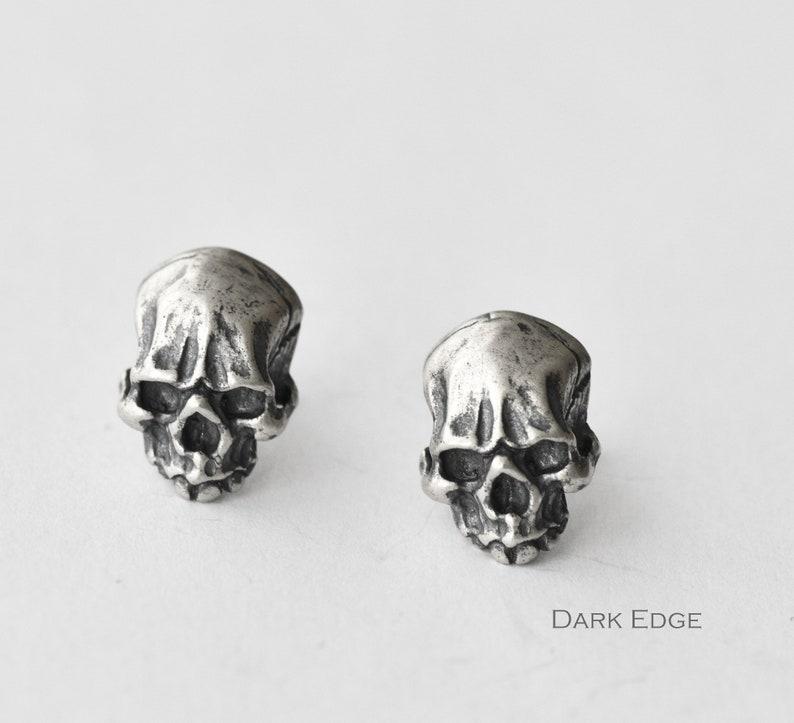 925 sterling silver  skull earrings stud pierced earrings mens image 0