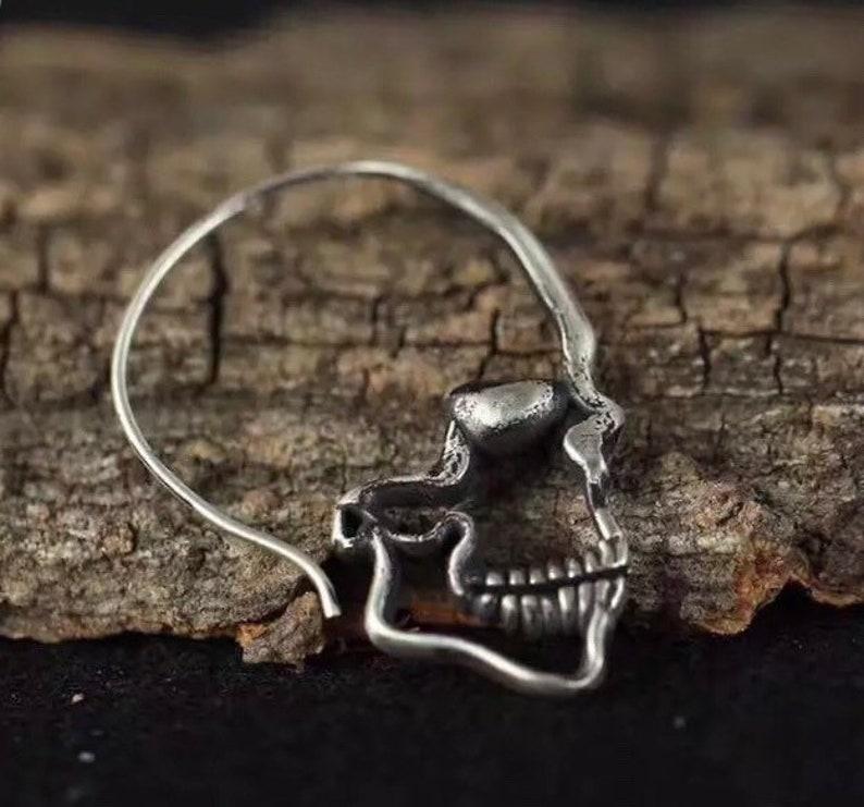 feda45564 Sterling silver skull earrings punk earrings skull hoop | Etsy