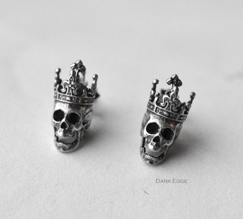 925 sterling silver king skull earrings cross crown skull image 0