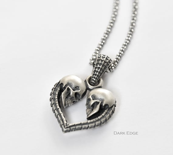 Sterling Silver Skull Necklace Skull Heart Necklace Spine Heart Necklace Mens Womens Goth Jewellery Gift By Dark Edge Jewellery by Etsy