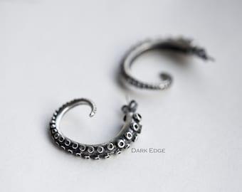 925 sterling silver octopus earrings octopus tentacle earrings hoop earrings mens womens Gothic punk jewellery gift by Dark Edge Jewellery